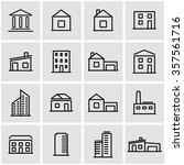 vector line buildings icon set | Shutterstock .eps vector #357561716