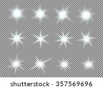 vector set of glowing light... | Shutterstock .eps vector #357569696