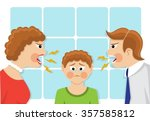 parents scream and scold the... | Shutterstock .eps vector #357585812