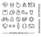 healthy lifestile line icons | Shutterstock .eps vector #357595322