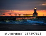 Michigan City, Indiana lighthouse with Chicago skyline on the ho