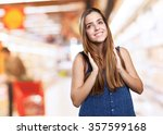 young cute woman smiling on a... | Shutterstock . vector #357599168