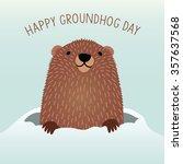 happy groundhog day design with ... | Shutterstock .eps vector #357637568