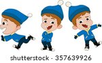 winter holidays. kid playing in ... | Shutterstock .eps vector #357639926