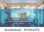 an underwater view in the...   Shutterstock . vector #357641372