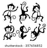 Set Of Cartoon Monkey Vector...