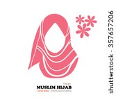 muslim woman  icon with hijab.... | Shutterstock .eps vector #357657206