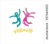 joyful  happy people. yay  man... | Shutterstock .eps vector #357664502