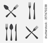 spoon  fork and knife icon set. ... | Shutterstock .eps vector #357670238