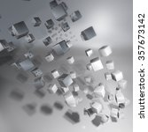 turned silver cubes and vortex | Shutterstock . vector #357673142