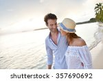 happy just married couple... | Shutterstock . vector #357690692