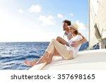 romantic couple enjoying sail... | Shutterstock . vector #357698165