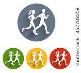 running silhouettes icon | Shutterstock .eps vector #357703256