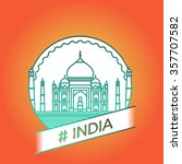 vector line india badge | Shutterstock .eps vector #357707582