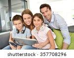 portrait of happy family... | Shutterstock . vector #357708296