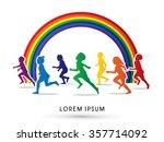 silhouette  children running ... | Shutterstock .eps vector #357714092