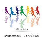 silhouette  children running ... | Shutterstock .eps vector #357714128