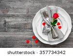 valentines day table place... | Shutterstock . vector #357734342
