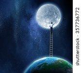 Man Reaching Moon Planet