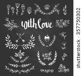 Stock vector set isolated hand drawn design elements with stylish lettering with love chalkboard set with 357750302