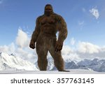 Stock photo sasquatch bigfoot yeti on snowy mountain peaks 357763145