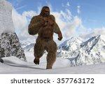 Stock photo sasquatch bigfoot yeti on snowy mountain peaks 357763172