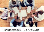 close up of business team with... | Shutterstock . vector #357769685
