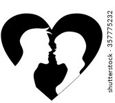 man and woman silhouettes. kiss ...