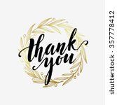 thank you golden  lettering... | Shutterstock .eps vector #357778412