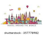 travel and tourism background.... | Shutterstock .eps vector #357778982
