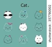 face cat cartoon vector | Shutterstock .eps vector #357780002