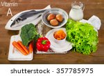 foods containing vitamin a. | Shutterstock . vector #357785975