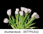 Bunch Of White Tulips Isolated...