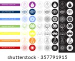 set of 7 chakras sign symbol... | Shutterstock .eps vector #357791915