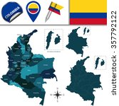 vector map of colombia with...