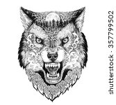 tattoo head wolf grinning with... | Shutterstock . vector #357799502
