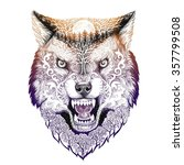 tattoo head wolf grinning with... | Shutterstock . vector #357799508