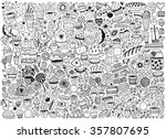 doodle swith pattern with... | Shutterstock .eps vector #357807695