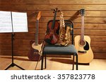 musical instruments on a chair...   Shutterstock . vector #357823778