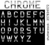 alphabet. chrome letters. metal ... | Shutterstock .eps vector #357834572