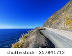blue sea   sky  white clouds ... | Shutterstock . vector #357841712