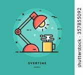 overtime  flat design thin line ... | Shutterstock .eps vector #357855092