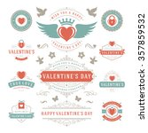 valentine's day labels and... | Shutterstock .eps vector #357859532
