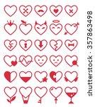 heart icon set. vector romantic ... | Shutterstock .eps vector #357863498