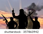 silhouette of three terrorists... | Shutterstock . vector #357863942
