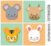 12 chinese zodiac rat  ox ...   Shutterstock .eps vector #357868208