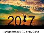 silhouette young woman jumping... | Shutterstock . vector #357870545