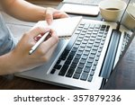 a man taking some notes from... | Shutterstock . vector #357879236