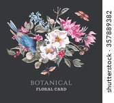 spring vintage greeting card... | Shutterstock .eps vector #357889382