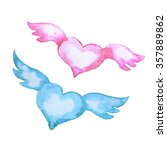 a couple of pink and blue...   Shutterstock . vector #357889862